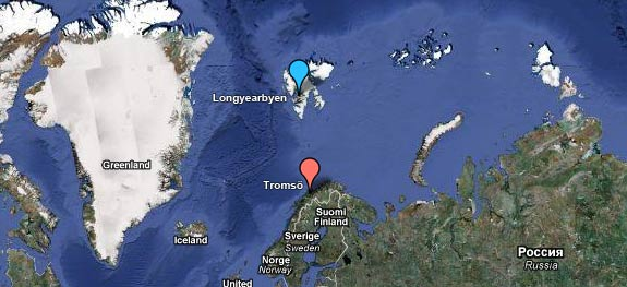 Map showing the location of Tromsö and Longyearbyen